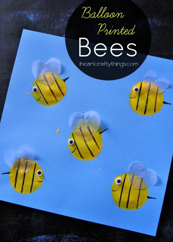Balloon Print Bee Kids Craft I Heart Crafty Things