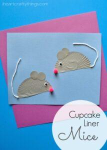 Cupcake Liner Mouse Kids Craft