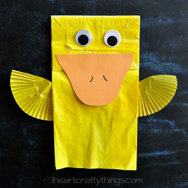 Cute paper bag duck kids craft i heart crafty things for Brown paper bag crafts for preschoolers