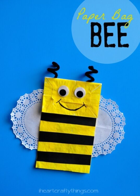 Paper bag bee kids craft i heart crafty things for Brown paper bag crafts for toddlers