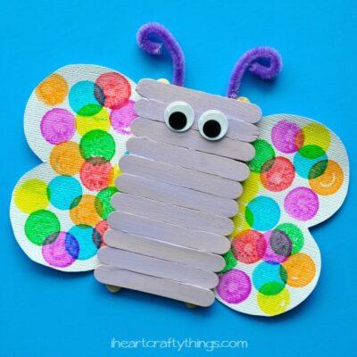 Popsicle Stick Butterfly Kids Craft