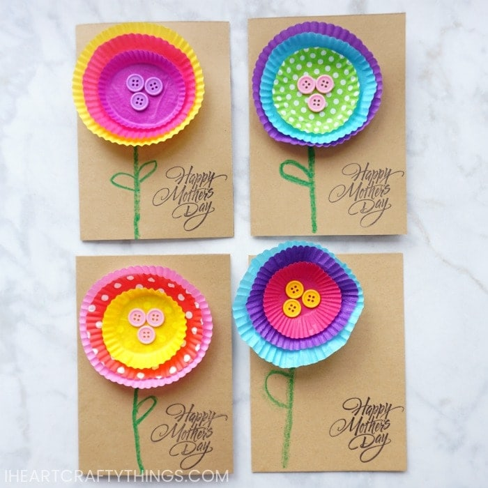 Bright and cheerful kid made mothers day card i heart crafty things today im sharing this simple but adorable kid made mothers day card made out of one of our favorite materials cupcake liners mightylinksfo