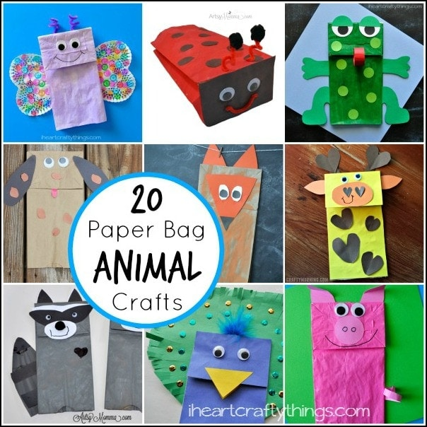 20 paper bag animal crafts for kids i heart crafty things for Brown paper bag crafts for preschoolers