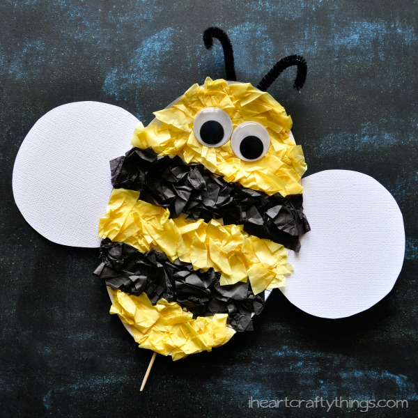 Tissue paper ladybug kids craft with free pattern for Plastic bees for crafts