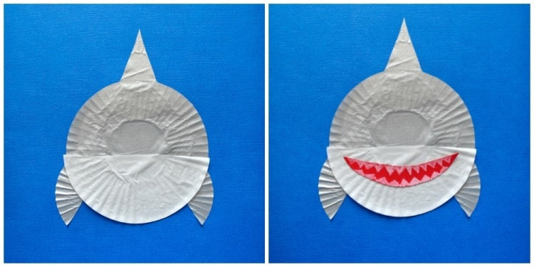 cupcake liner shark kids craft i heart crafty things