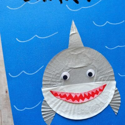 Cupcake Liner Shark Kids Craft