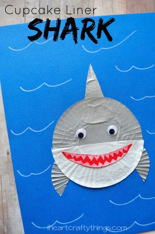 shark projects for preschoolers cupcake liner shark craft i crafty things 719