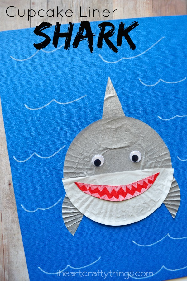 ocean animal cupcake liner crafts cupcake liner shark craft i crafty things 6973