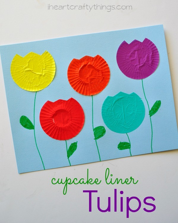 Cupcake Liner Tulip Kids Craft on Dr Seuss Bullentin Board