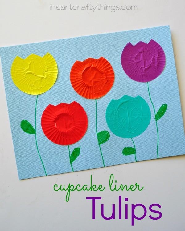 Cupcake Liner Tulip Kids Craft on Spring Flower Bulletin Board Pre K
