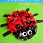 Tissue Paper Ladybug Kids Craft (with free pattern printable)