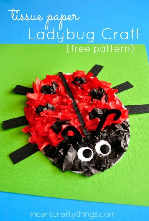photograph about Printable Tissue Paper named Tissue Paper Ladybug Children Craft (with cost-free routine printable)