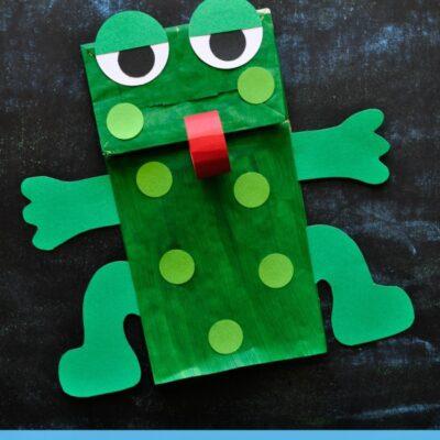 Paper Bag Frog Puppet Kids Craft