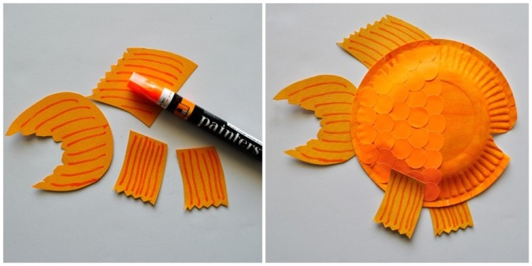 Glue your fins to your paper plate. Finish your fish by cutting out a mouth at the front of the fish and gluing on a large googly eye. & Paper Plate Fish Craft for Kids | I Heart Crafty Things