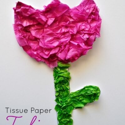 Tissue Paper Tulip Kids Craft (with printable pattern)