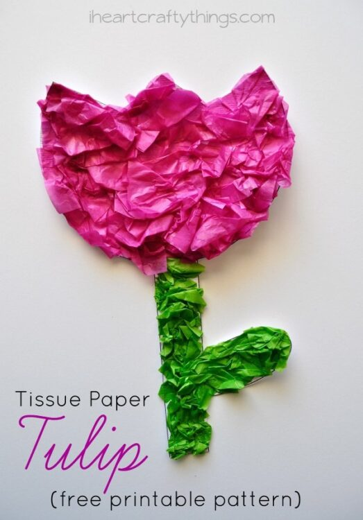 Tissue paper tulip kids craft with printable pattern i heart we have a local tulip festival that we plan on taking a trip to this next week so its made for perfect timing for all of our flower crafts mightylinksfo