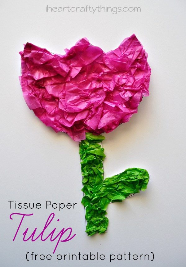 Tissue paper flower art project i heart crafty things cd and handprint flower craft for kids tissue paper tulip kids craft with printable pattern mightylinksfo
