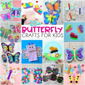 collage of 14 colorful butterfly crafts for kids