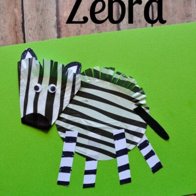 Cupcake Liner Zebra Craft for Kids