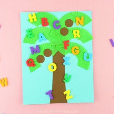 Make learning about letters and the alphabet fun for preschoolers with this book-inspired Chicka Chicka Boom Boom Craft. Easy alphabet activity for kids!
