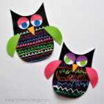 Colorful Owl Craft for Kids using Fun Chalk