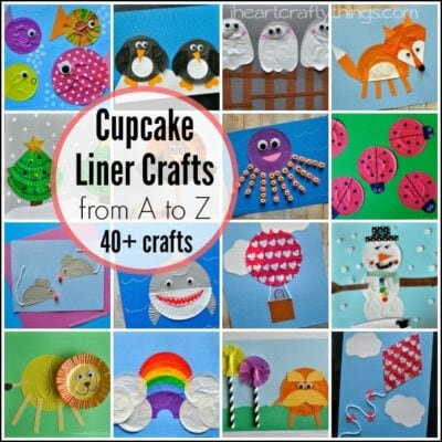 If you have a preschooler learning the letters of the alphabet you will love all of our fabulous Cupcake Liner Crafts from A to Z.