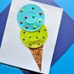 Fun cupcake liner ice cream cone kids craft perfect for a summer craft for kids, summer kids craft, preschool craft and cupcake liner crafts.