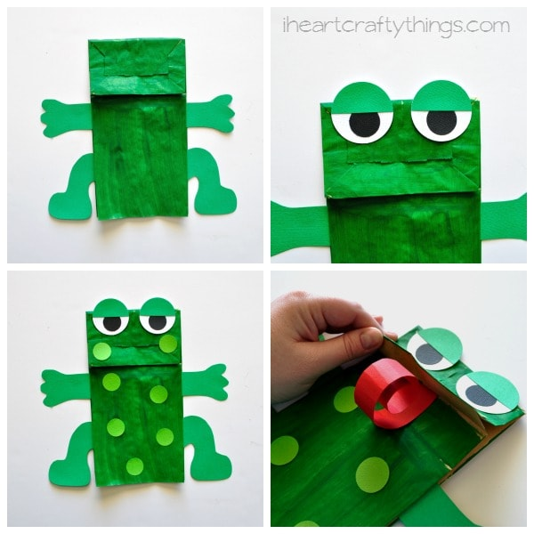 Cut your 2-inch green circle in half and glue a section to each eye to make eyelids. Glue them at the top of the paper bag hanging off the top a little.  sc 1 st  I Heart Crafty Things & Paper Bag Frog Puppet with Free Pattern | I Heart Crafty Things