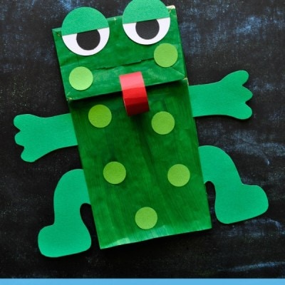 Paper Bag Frog Puppet with Free Pattern