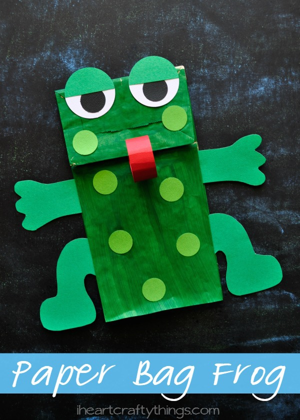 Paper bag frog puppet with free pattern i heart crafty for Frog crafts for preschoolers