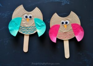 Cupcake Liner Owl Puppet Kids Craft