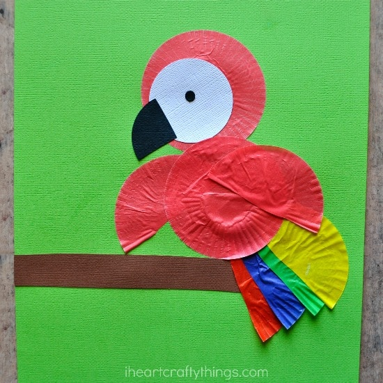 Cupcake Liner Parrot Kids Craft | I Heart Crafty Things