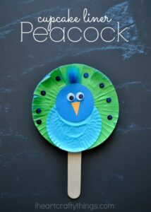 Cupcake Liner Peacock Stick Puppet