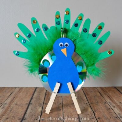 Recycled CD Peacock Craft for Kids