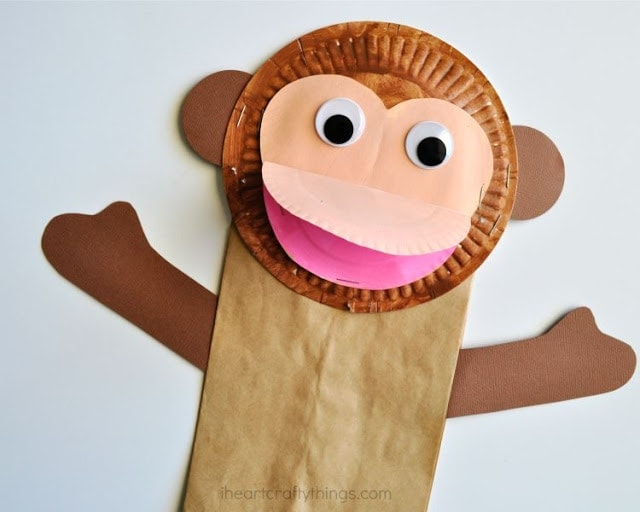 Paper bag monkey craft for kids i heart crafty things for Brown paper bag crafts for preschoolers