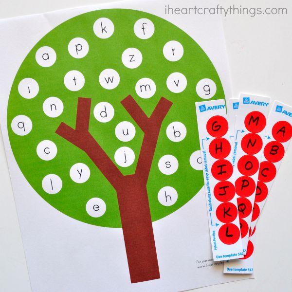 image about Alphabet Matching Game Printable referred to as Pleasurable Apple Tree ABC Video game Preschool Printable