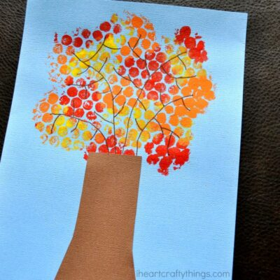 Bubble Wrap Fall Tree Craft