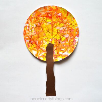 Marbled Fall Tree Craft for Kids