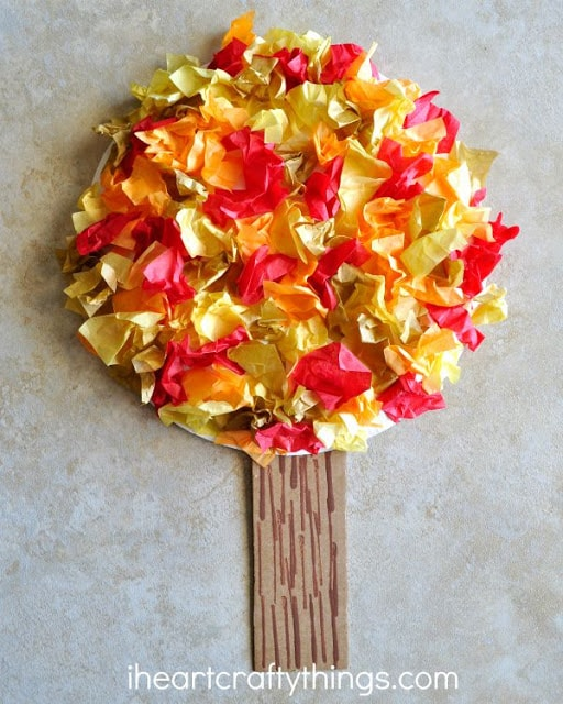 Tissue paper fall tree craft i heart crafty things for Fall crafts for preschoolers pinterest
