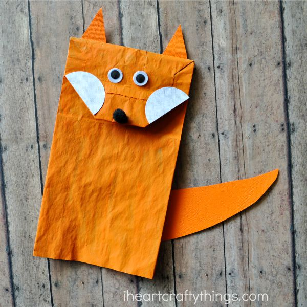 Paper bag fox craft for kids i heart crafty things for How to make paper projects