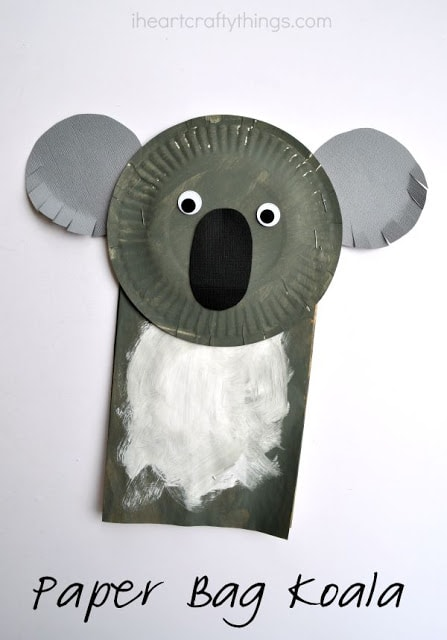 Paper bag koala craft for kids i heart crafty things for Australian arts and crafts