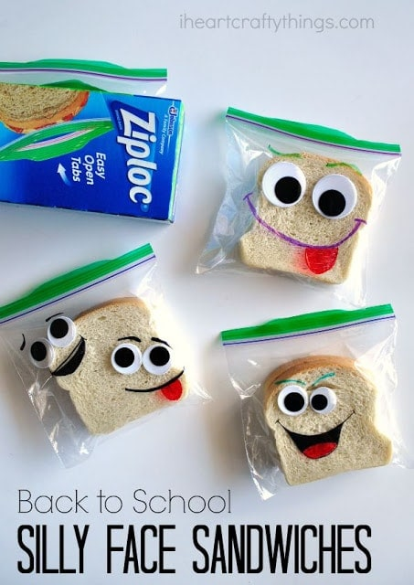 These back-to-school DIY silly face sandwich bags make perfect lunch box notes for the first day of school. Fun school lunch ideas for kids.