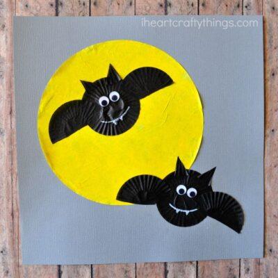 Cupcake Liner Bats Halloween Craft