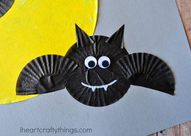 Cupcake Liner Bats Halloween Craft Hand Craft Updates