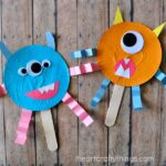 Cupcake Liner Monster Stick Puppets