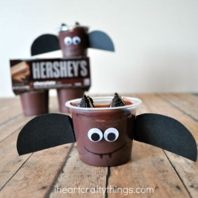 Halloween Bat Snack for Kids with Hershey's Pudding