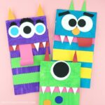 Kids will love using their creativity to create these paper bag monster puppets. Fun Halloween craft for kids and monster kids craft.