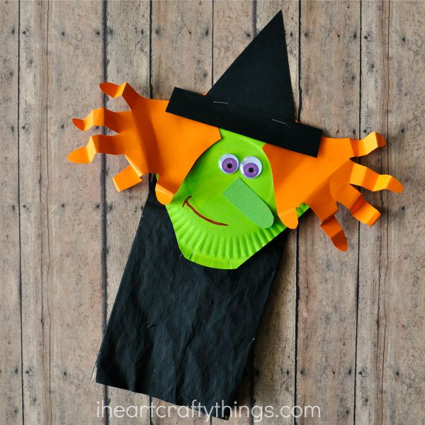 Halloween Crafts And Decorations: Paper Bag Halloween Witch Craft For Kids