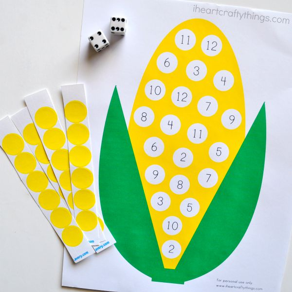 preschool corn counting activity with printable i heart crafty things