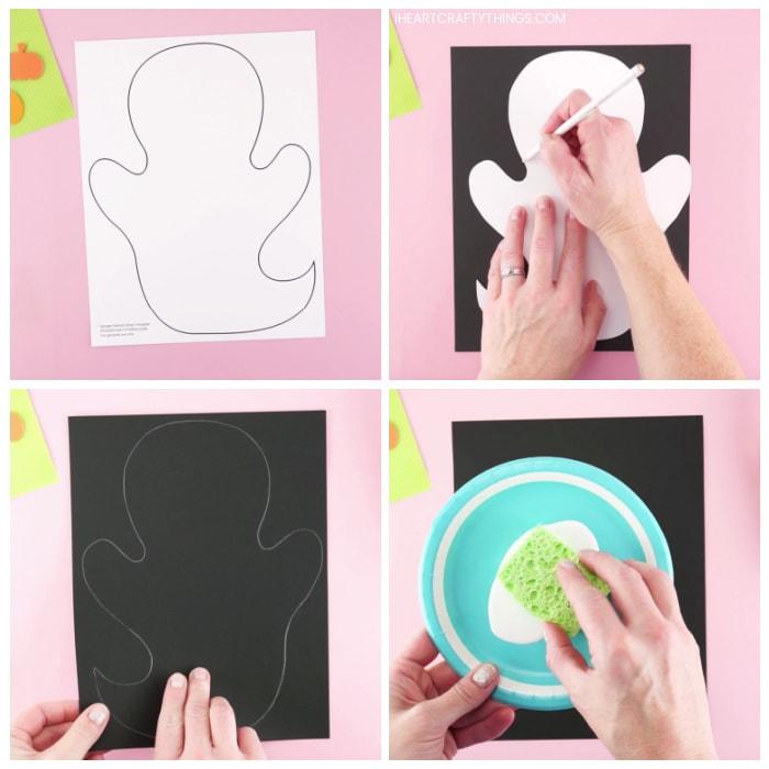 Collage mit vier Bildern, die eine ausgedruckte Geisterschablone zeigt, wobei ein Erwachsener die Schablone mit einem weißen Bleistift auf ein schwarzes Kartonpapier zeichnet und ein Erwachsener einen Schwamm in weiße Farbe auf einem Pappteller tupft.
